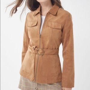 Faux suede belted safari zip jacket!